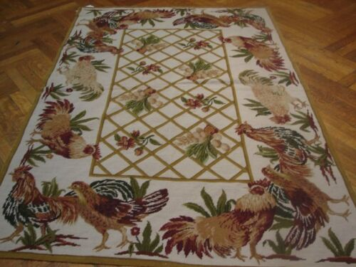 TAPESTRY NEEDLEPOINT RUG ROOSTERS