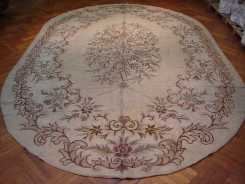 ANTIQUE HOOKED OVAL SHAPE RUG 11X18  UNUSUAL