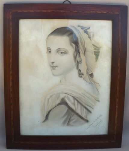 19thC French Draw Picture Drawing Signed Joseph FRAME South Woman Portrait 1875