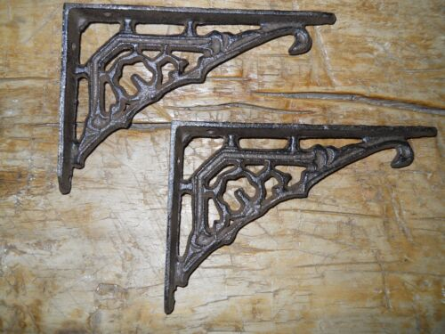 6 Cast Iron Antique Style Art Deco Brackets, Garden Braces Shelf Bracket