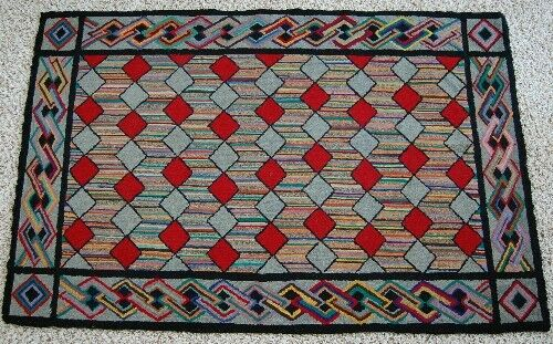 SPECTACULAR Vintage 1920's Zigzag Diamonds Antique Hooked Rug ~NICE CABLE BORDER