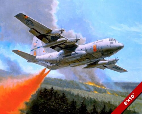 C-130 HERCULES FIRE FIGHTING PAINTING US MILITARY HISTORY ART REAL CANVAS PRINT