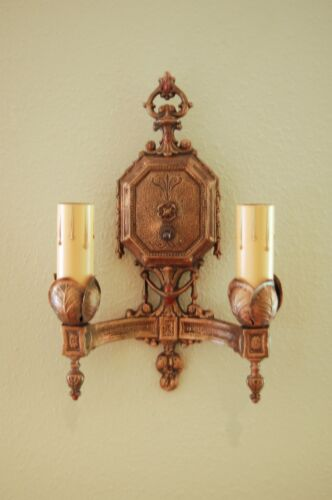 Antique art deco wall sconce, bronze, rewired with all mounting hardware