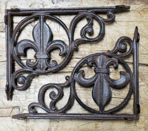 2 Cast Iron Antique Style Fleur De Lis Brackets, Garden Braces Shelf Bracket
