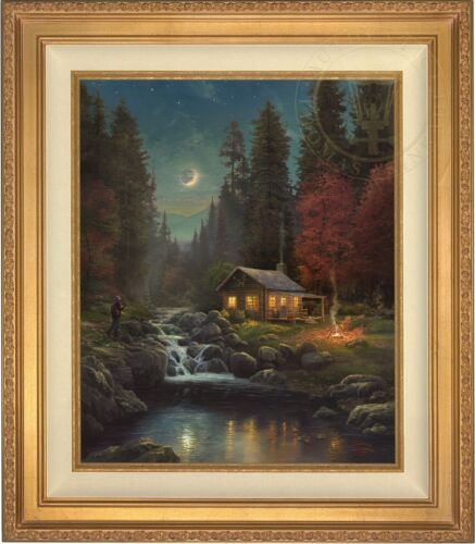 Thomas Kinkade Away From It All 24 x 20 LE S/N Canvas (Gold Frame)