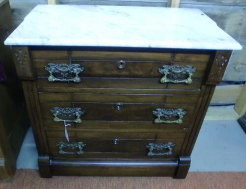 Antique Walnut Victorian Marble Top 3 Drawer Chest Washstand Dresser