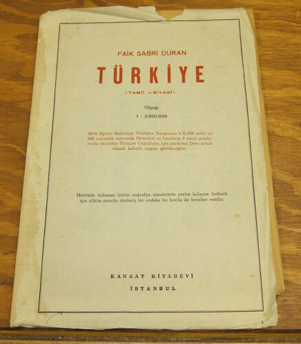 """c.1950s Map of TURKEY, With Full Index, 19x33.5"""" Size, in COLOR"""