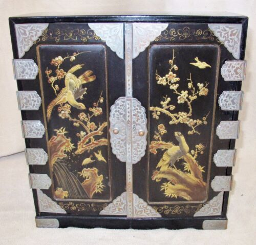"""14"""" Antique Japanese Mini Wood Chest Cabinet with Drawers Painted Black & Gold"""