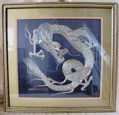 "27.7"" Framed Japanese Fabric Panel w/ Gold Thread Embroidery of Celestial DRAGON"