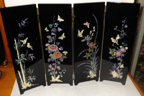 CHINESE MOTHER OF PEARL FLORAL BIRDS BUTTERFLY 4 PANEL SCREEN SIGNED