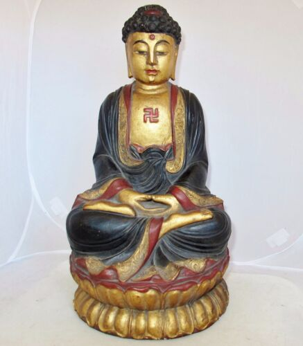 """15.5"""" Antique Japanese or Chinese Painted & Gold Gilt Carved Wood Buddha Statue"""