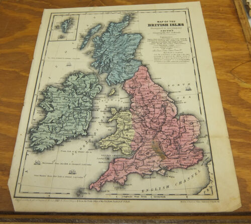 1853 Antique COLOR Smith Map  ///  BRITISH ISLES