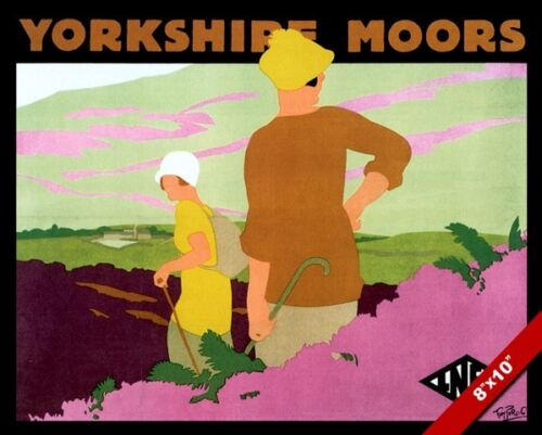 VINTAGE YORKSHIRE MOORS ENGLAND VACATION TRAVEL AD POSTER ART REAL CANVAS PRINT