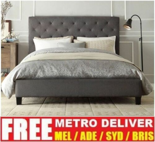 CHESTER DOUBLE QUEEN KING SIZE GREY / WHITE / CHARCOAL  FABRIC BED FRAME <br/> 20% off* with code PATRON20. *Today Only!!* T&Cs apply.