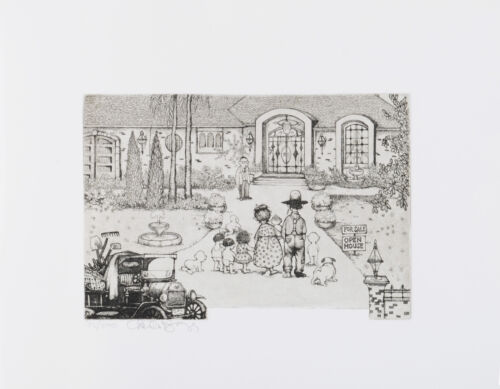 """Charles Bragg - """"The Real Estate Broker"""", hand signed etching"""