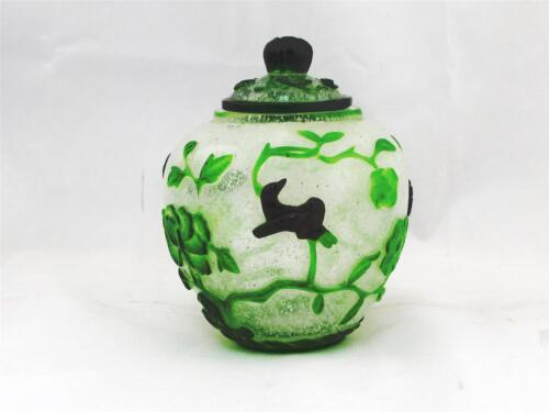 VINTAGE GREEN & MAROON CHINESE PEKING GLASS JAR, BIRDS & VINES, ALL HAND MADE