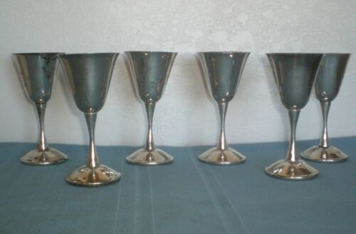 "6 Silver Goblets Electroplate over Brass Made in Spain 5 5/8"" tall smooth Stem"