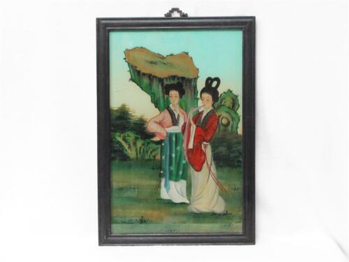 BEAUTIFUL VINTAGE CHINESE REVERSE GLASS PAINTING OF TWO WOMEN