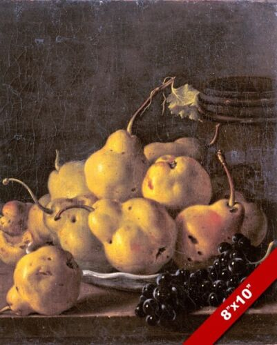 PLATE OF RIPE PEARS GRAPES STILL LIFE FRUIT PAINTING FOOD ART REAL CANVAS PRINT