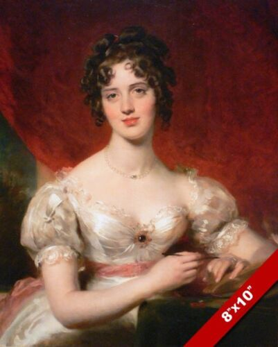 EARLY 1800'S BEAUTIFUL WOMAN IN SATIN PORTRAIT PAINTING ART REAL CANVAS PRINT