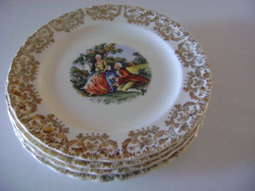 American China Dec.Co Warranted 22k Gold Antique China Plates (set of 4)
