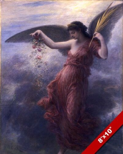 BEAUTIFUL YOUNG WOMAN ANGEL DROPPING FLOWER BUDS PAINTING ART REAL CANVAS PRINT