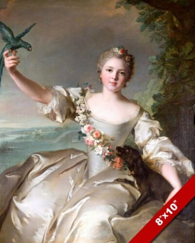 BEAUTIFUL YOUNG FRENCH NOBLE WOMAN W PARROT BIRD PAINTING ART REAL CANVAS PRINT