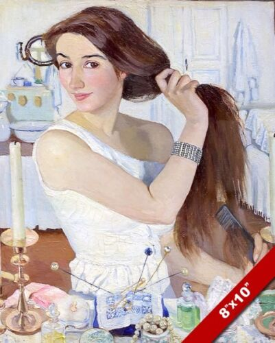 BEAUTIFUL YOUNG WOMAN GIRL BRUSHING HER LONG HAIR PAINTING ART REAL CANVAS PRINT
