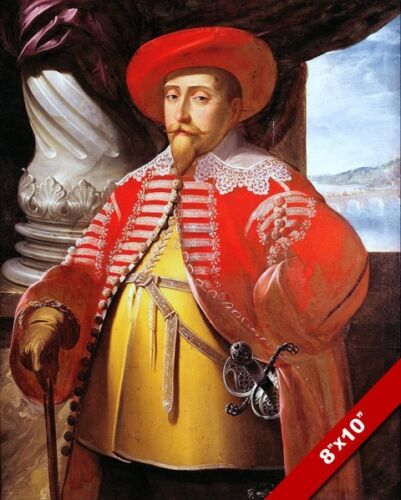 GUSTAVUS II ADOLPHUS KING OF SWEDEN PORTRAIT PAINTING ART REAL CANVAS PRINT