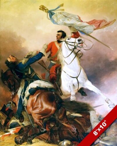 FIGHT FOR THE STANDARD BATTLE OF WATERLOO BRITISH PAINTING ART REAL CANVAS PRINT