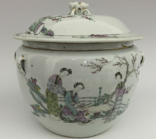 Chinese Porcelain Famille Rose Covered Pot Kamcheng - Republic Pd - Signed Seal