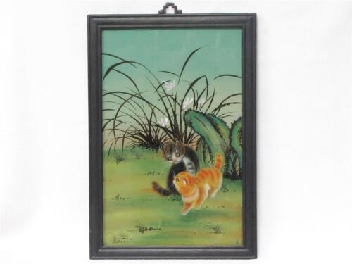 "BEAUTIFUL VINTAGE CHINESE REVERSE GLASS PAINTING OF TWO KITTENS APPROX 15"" X 21"""