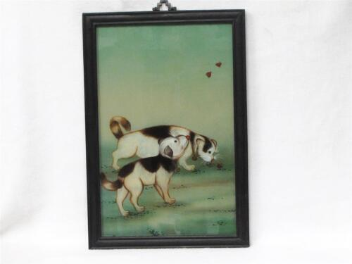 "BEAUTIFUL VINTAGE CHINESE REVERSE GLASS PAINTING OF TWO PUPPIES APPROX 15"" X 21"""