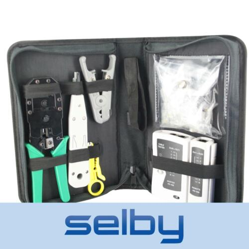 CAT6 CAT5 Network Cable Kit - Tester Crimper Stripper Cutter 8P8C RJ45 Fittings