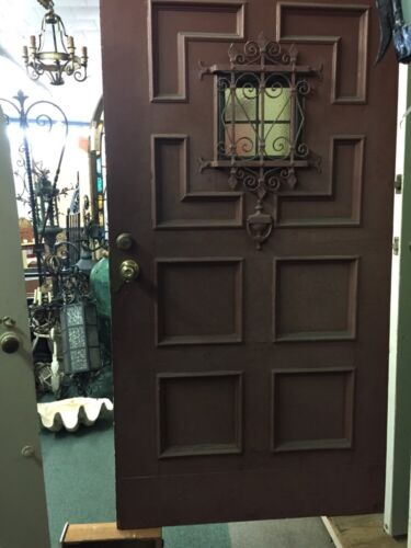Old Antique Vintage Spanish Revival 42 Winch Front Door With Rare Banded Iron