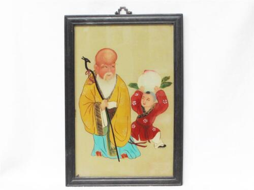 BEAUTIFUL VINTAGE CHINESE REVERSE GLASS PAINTING OF A BUDDHIST MONK & HIS PUPIL