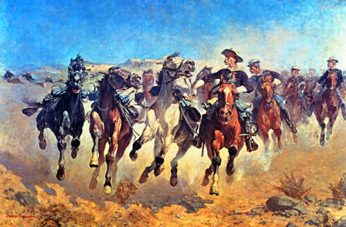 Frederic Remington -Dismounted The 4th Troopers Moving (1890) 16x24 CanvasPoster