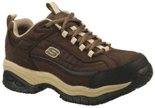 76760 Skechers Mens Work Shoes Leather Steel Toe Non Slip Brown/Taupe BRTP