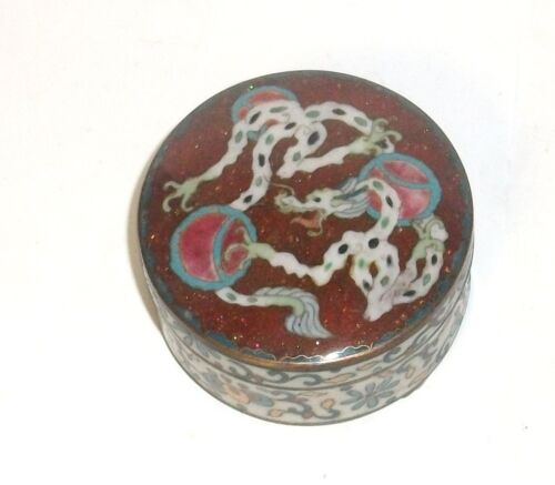 RARE OLD BRONZE JAPANESE GINBARI CLOISONNE ENAMEL DRAGON TRINKET JAR BOX