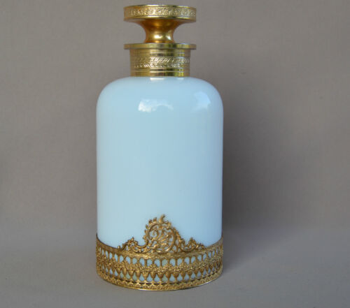 French Italian White Opaline & Gold Brass Perfume Small Bottle - Murano