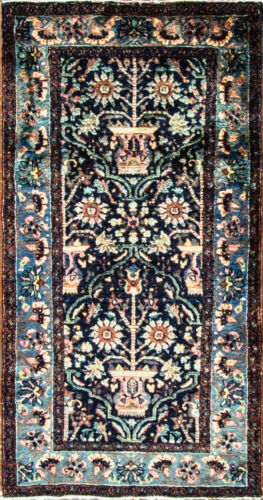 "gorgeous Antique Lilihan  Oriental Rug,blue and green colors,3'3"" x 6'3"""