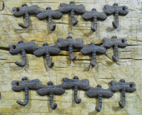 3 Cast Iron DRAGONFLY Towel Coat Hooks Hat Hook Key Rack Rustic BROWN Finish