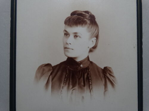 CABINET PHOTO Annie T Winks 1892 recuperating from TYPHOID FEVER Nice Graphics
