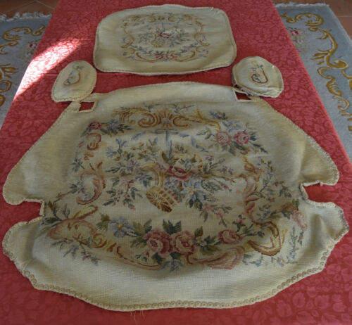 Antique French Louis XV Armchair Chair Tapestry Upholstery Tiny Cross Stitch 2