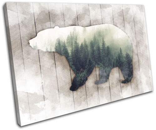 Bear Forest Grunge Abstract Animals SINGLE TOILE murale ART Photo Print