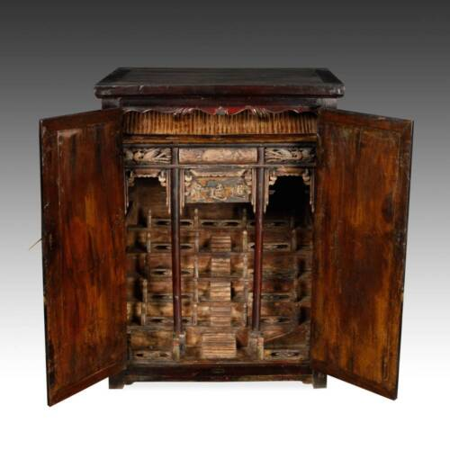 RARE ANTIQUE CHINESE QING LACQUERED ELM WOOD ALTAR CABINET 19TH C