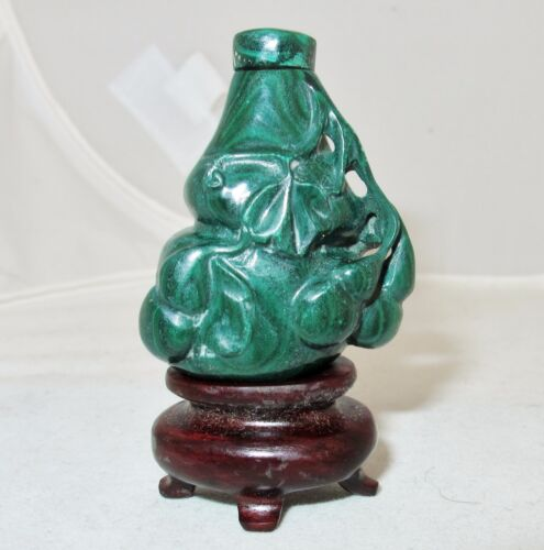 "1.8"" Chinese Carved Green Malachite Gourd Snuff Bottle with Wood Display Stand"