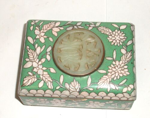 OLD 19TH CENTURY CHINESE BLUE FLORAL CLOISONNE ENAMEL JADE HUMIDOR JAR BOX