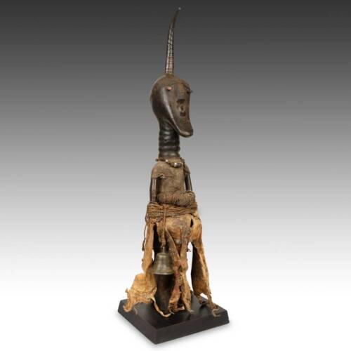 NKISI FIGURE WOOD LEATHER METAL SONGYE PEOPLE TETELA DRC WEST AFRICA 20TH C.
