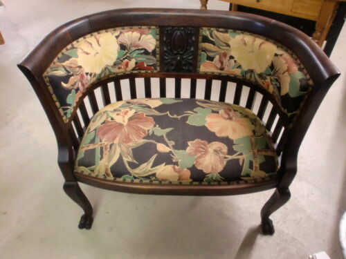 Fabulous Antique Mahogany Love Seat Settee Claw Feet Old Original Finish NICE!!
